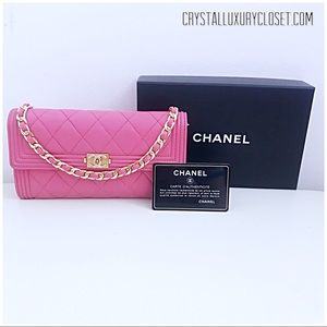 Authentic Chanel Pink Boy Wallet On Chain Bag